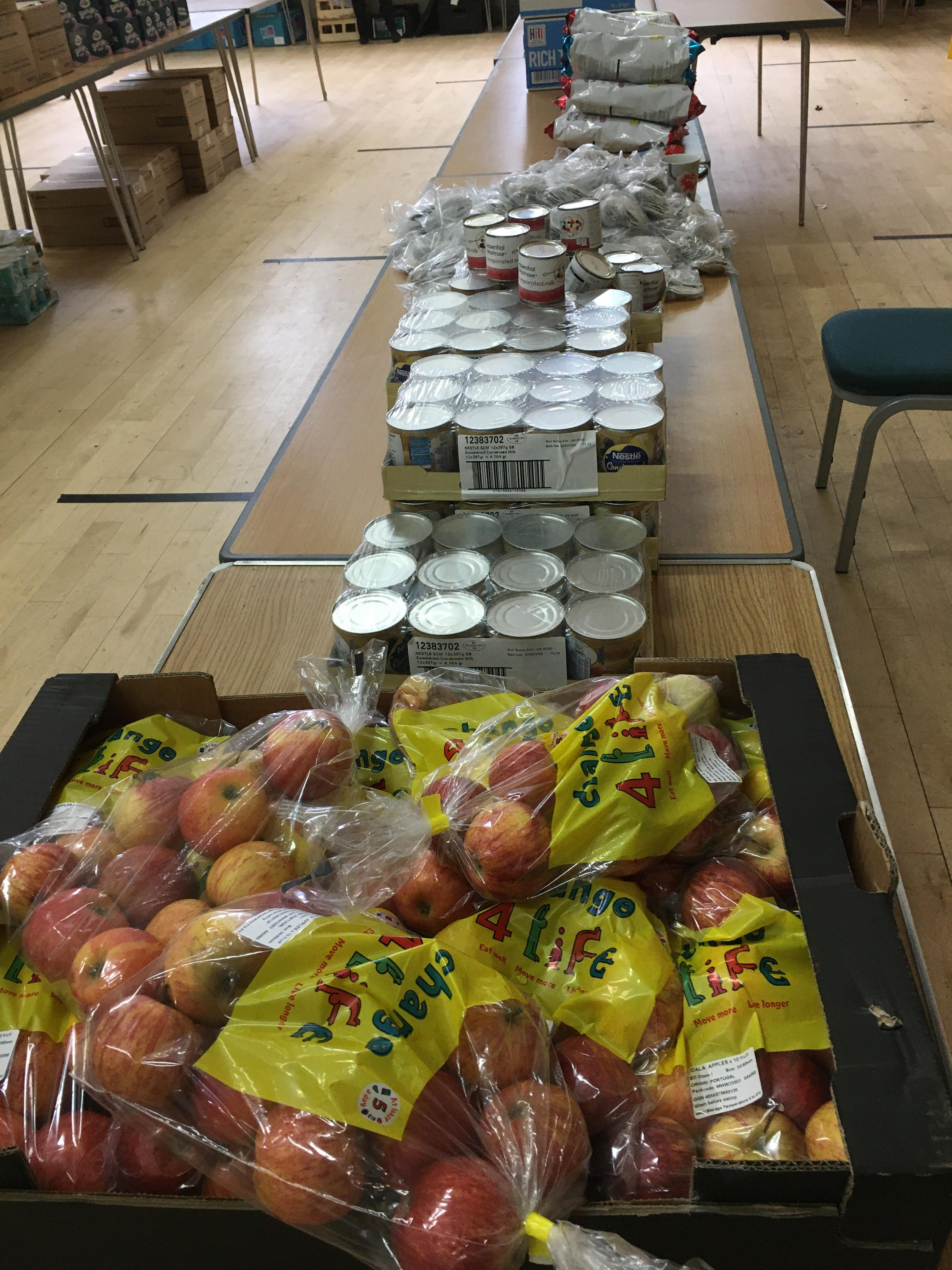 Supplies for the food parcels