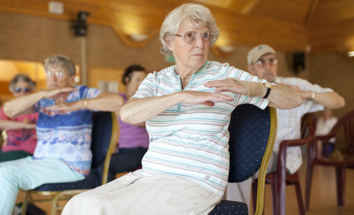 Woman at Age UK Barnet fitness class