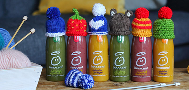 innocent smoothie bottles with little hats
