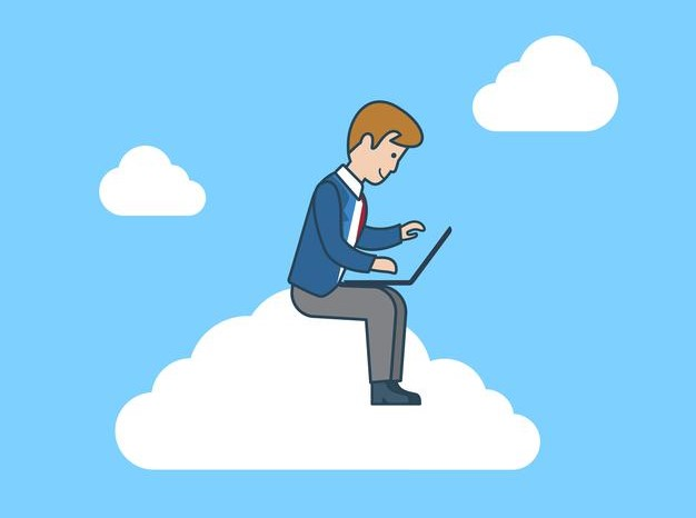 man on laptop working sat on a cloud
