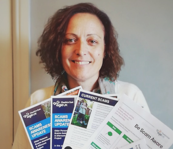 Sally Wilson, our Scams Awareness Project manager, with a range of information leaflets about avoiding scams available from the charity