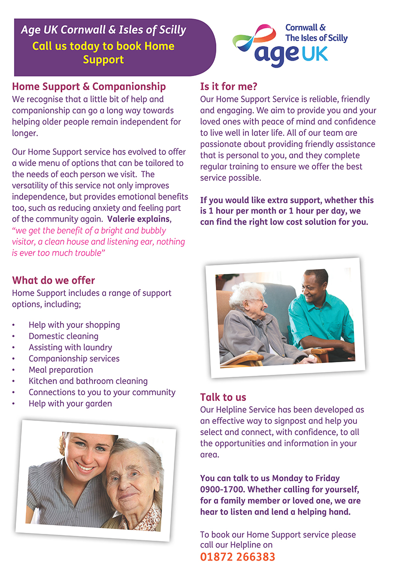 New Home Support Assistants across Cornwall!   Age UK