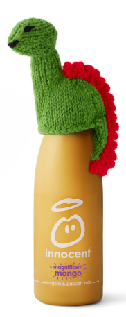 Innocent bottle with knitted hat