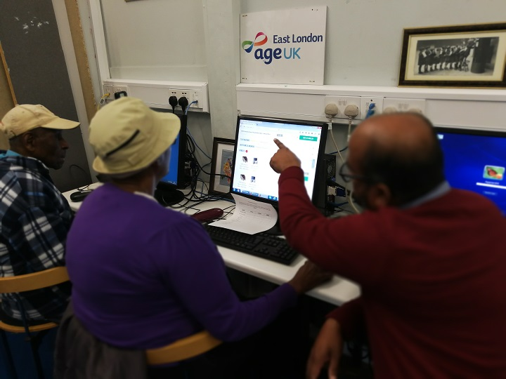 Service users engaged in a Digital Inclusion session