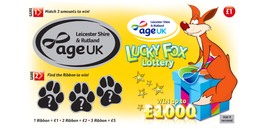 One of our Lucky Fox Lottery Scratch Cards