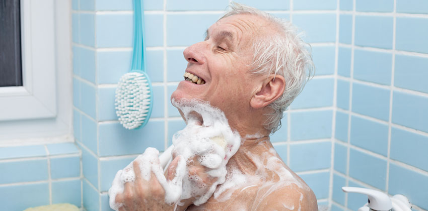 Older man enjoying a bath