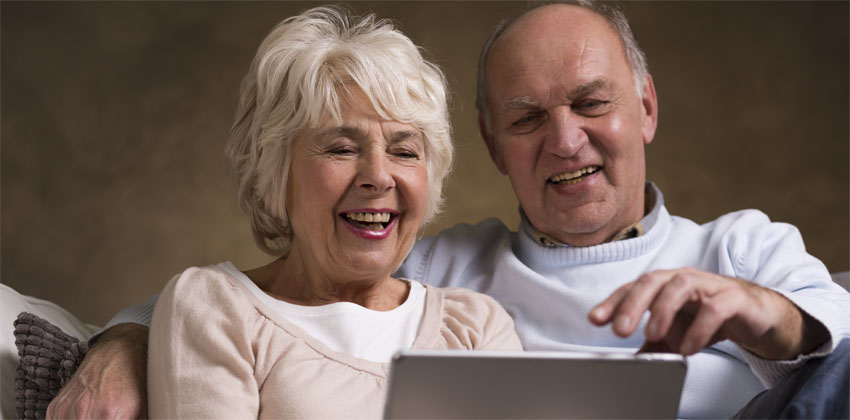 Older people using a tablet