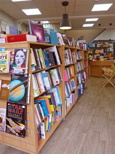 A selection of books inside our Loughborough Book Shop