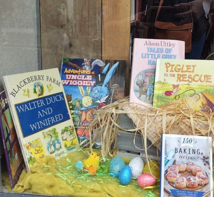 A selection of books in the window display of Loughborough Book Shop