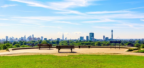 A view of London from Primrose Hill. Age UK London's Park Walks campaign