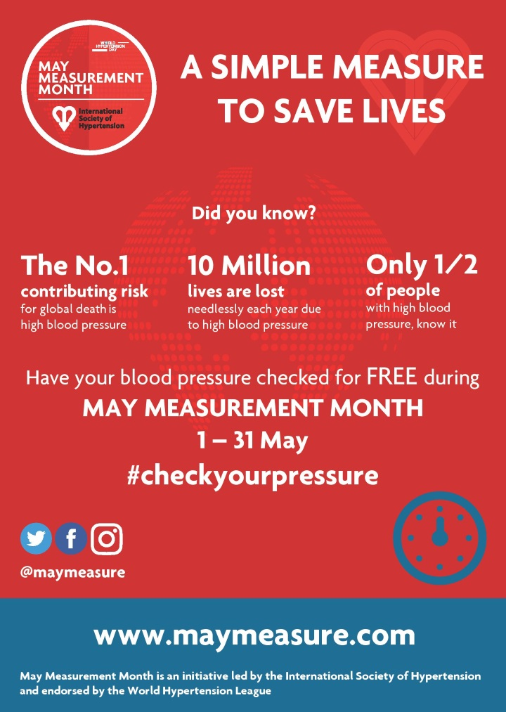 May Measurement Month 2018 - Free blood pressure screening whole month of May