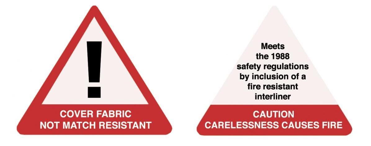 Fire warning label - not match resistant