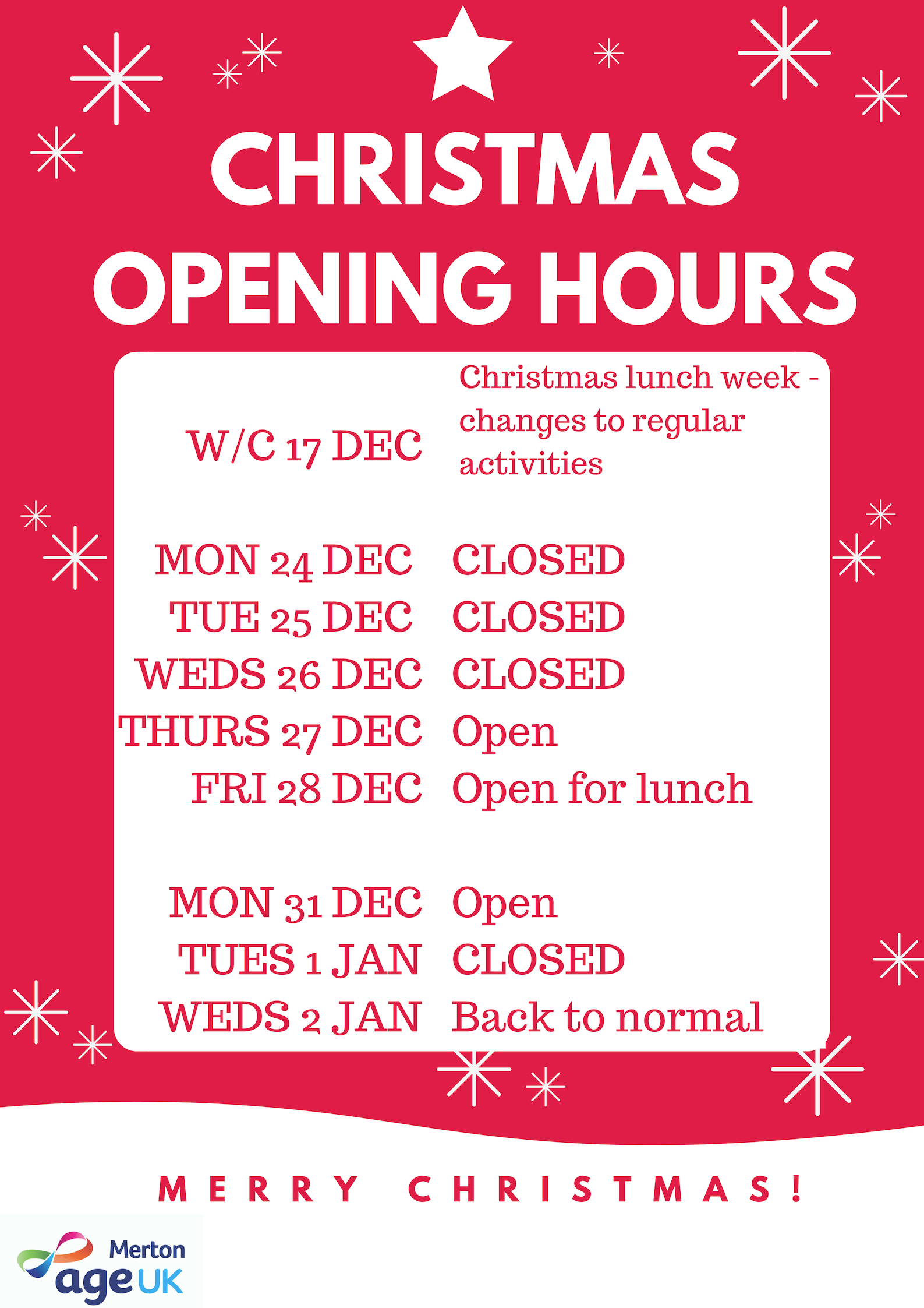 Christmas Opening Hours.Age Uk Merton Christmas Opening Hours