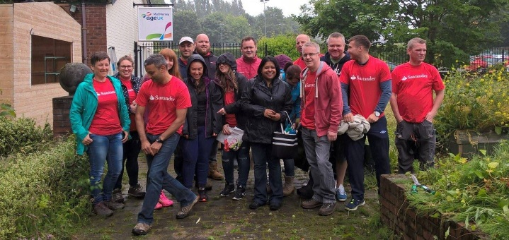 Santander volunteers helping out at our Roby Community Hub