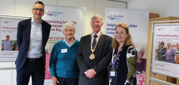 Tim Hollingsworth with Sue Graham, the Mayor of Milton Keynes and Janet Doran