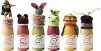 innocent smoothie bottles with knitted hats
