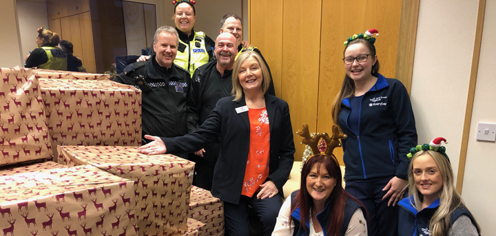 Northumbria Police and their hampers donated for older people