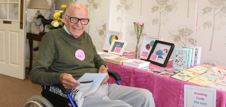 Residents' handmade cards were sold to raise funds