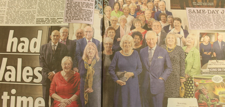 Eileen, in the front row, as the article appeared in The Sun newspaper