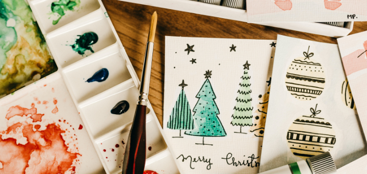 Christmas cards and watercolour paints