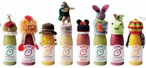 A collection of smoothies with the knitted woolly hats