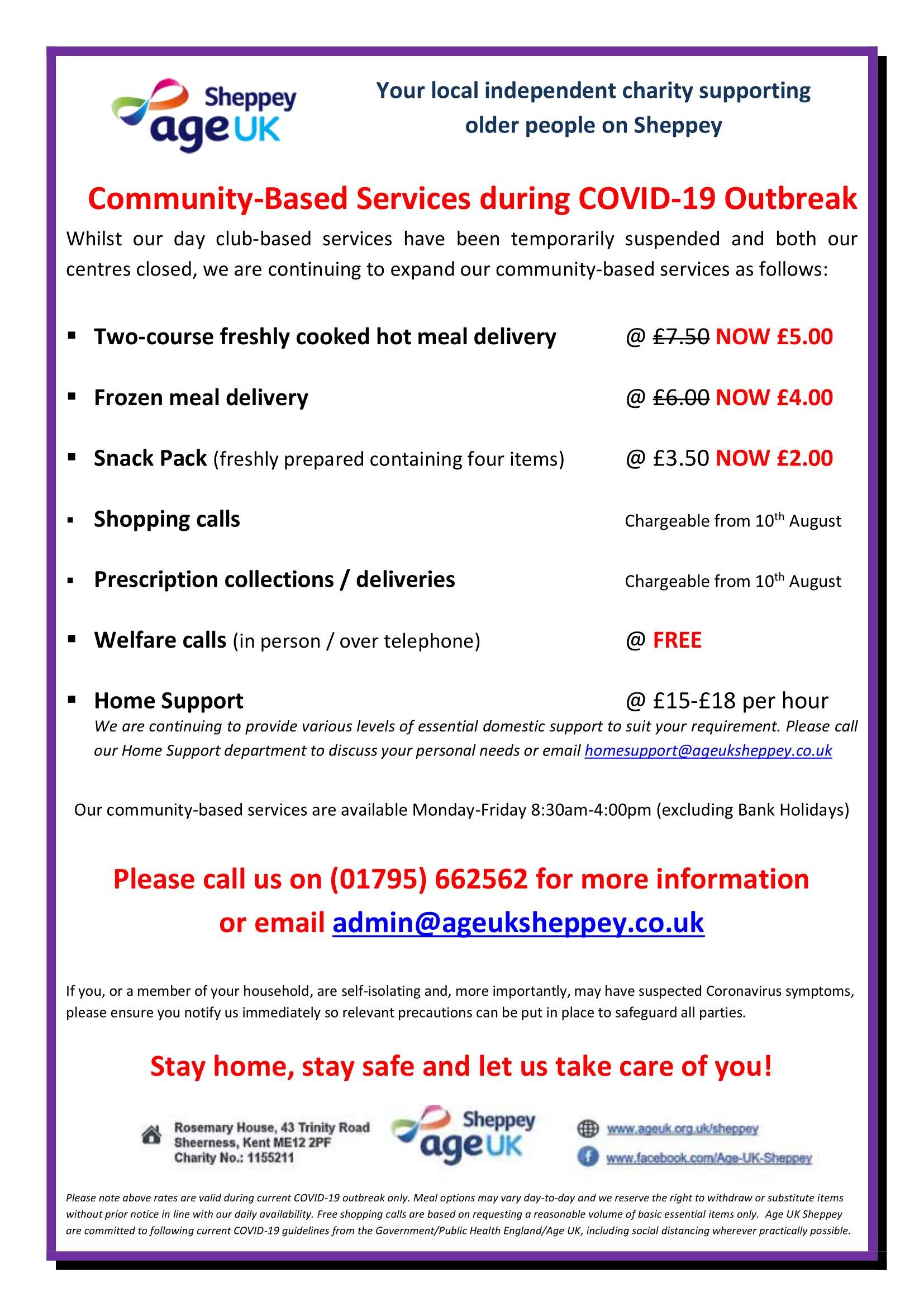 Covid 19 Community Services Price List