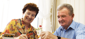 Couple getting advice at Age UK Sheppey