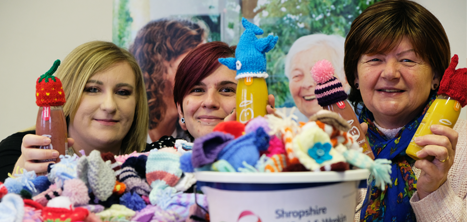 Gemma and her mum Libby delivering hats at the Age UK Shropshire Telford & Wrekin offices