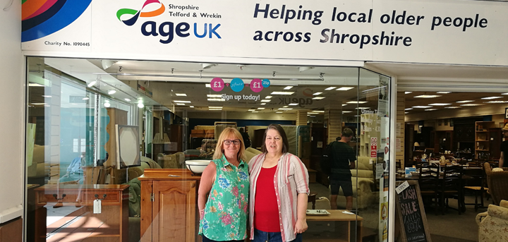 Charity shop volunteers Janet Taylor and Julie Armstrong