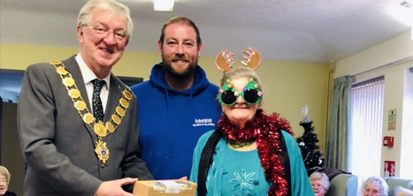 Mayor Gillam with Dave Jenkins and a Reabrook day centre member