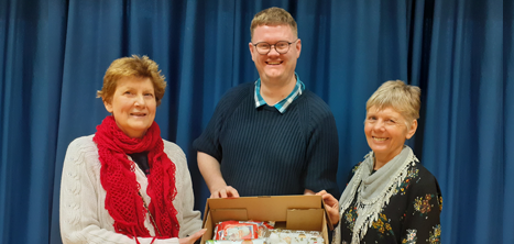 Pam (day centre member), Tim Walsh and Marilyn Davies