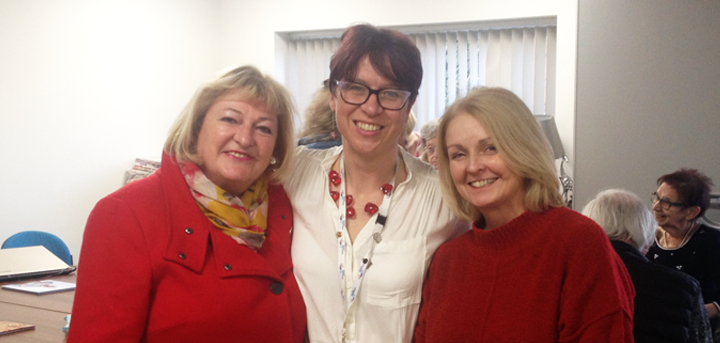 Emma Wilde with BT fundraisers Jane Lewis and Tracey Binny