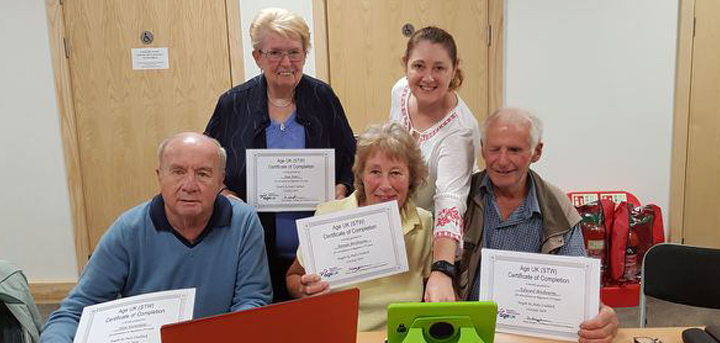 Members of the Age UK Shropshire Telford & Wrekin computer course at Brookside Community Centre.