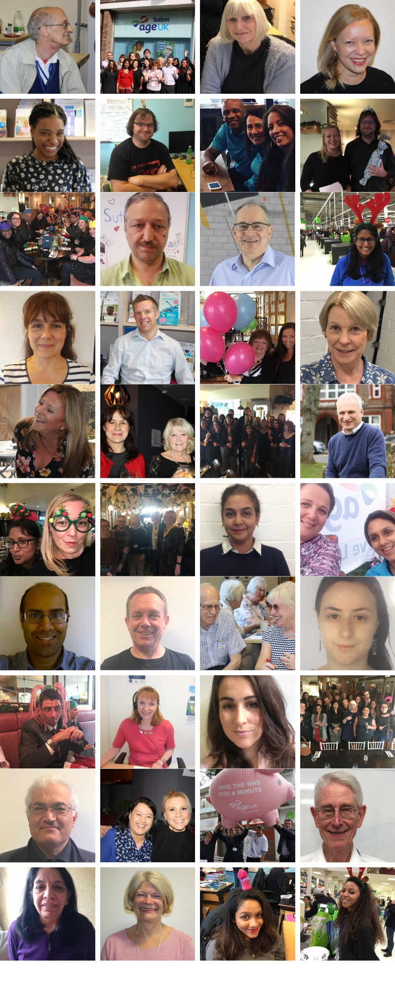image collage of staff and volunteers of Age UK Sutton