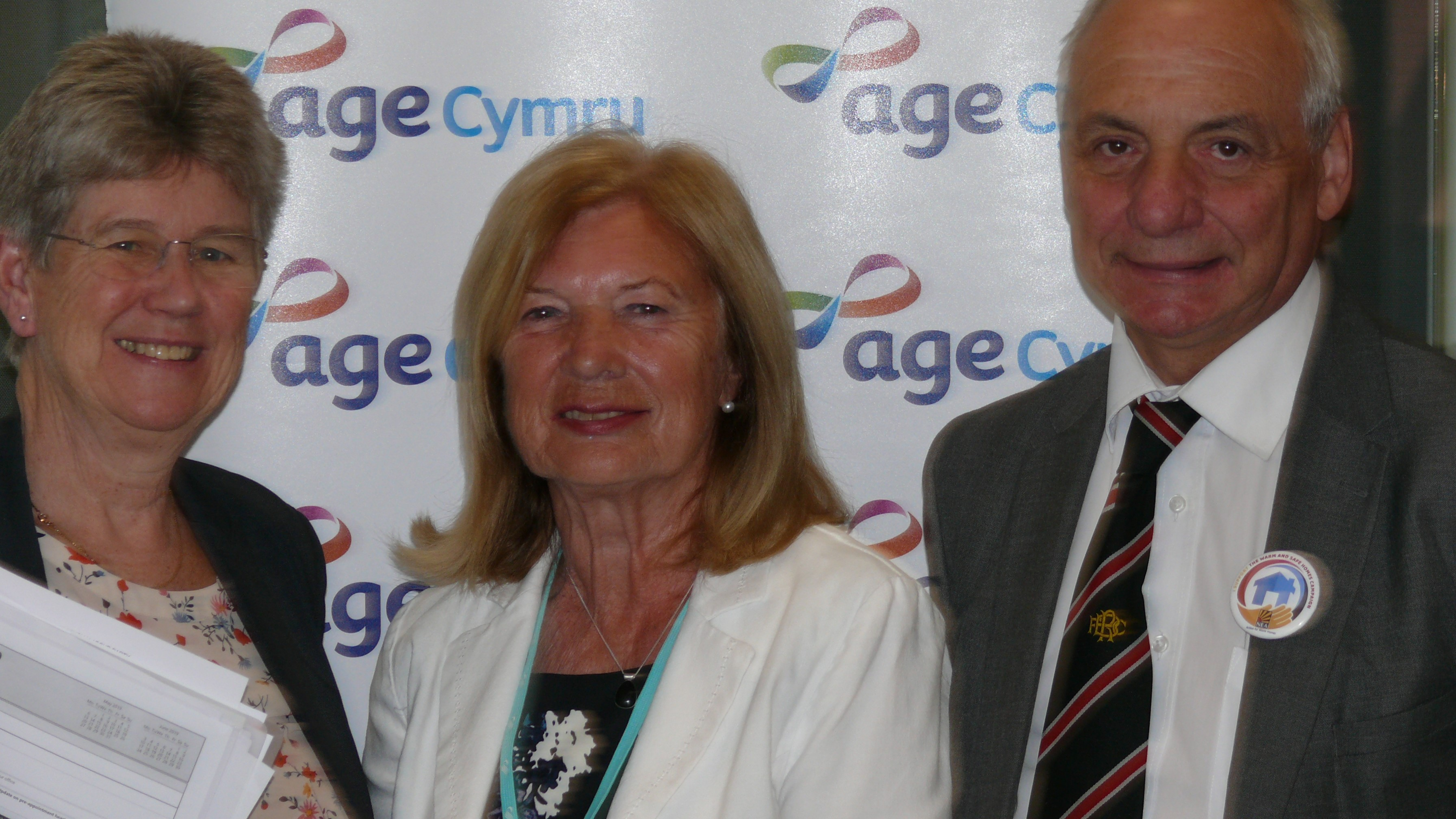 Deputy Minister and Chief Whip Jane Hutt AM, Dr Bernadette Fuge OBE President of Age Cymru, and Mike Hedges AM Chair of the Cross Party Group on Older People and Ageing