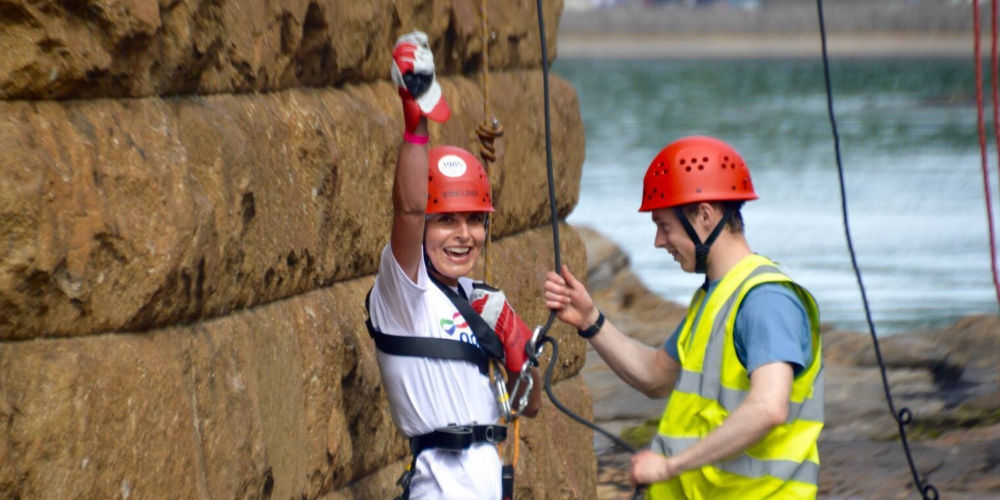 Abseiler smiling