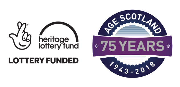Heritage Lottery Funded logo and Age Scotland 75 year logo