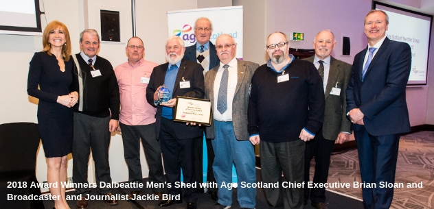Award Winners with Brian Sloan, Age Scotland Chief Executive and Broadcaster and Journalist Jackie Bird