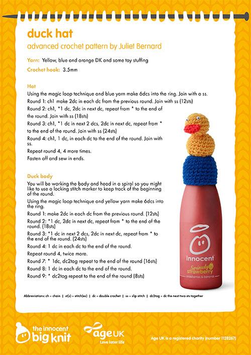 d54b06d9c Duck hat crochet pattern knitting pattern