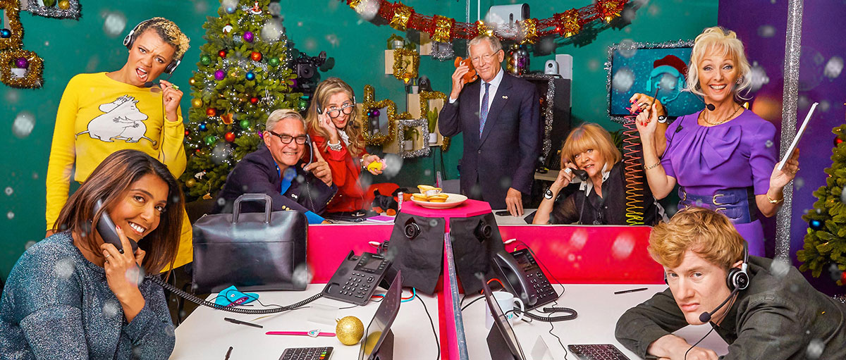 All the celebrities who manned the phones for Celebrity Call Centre at Christmas for Age UK