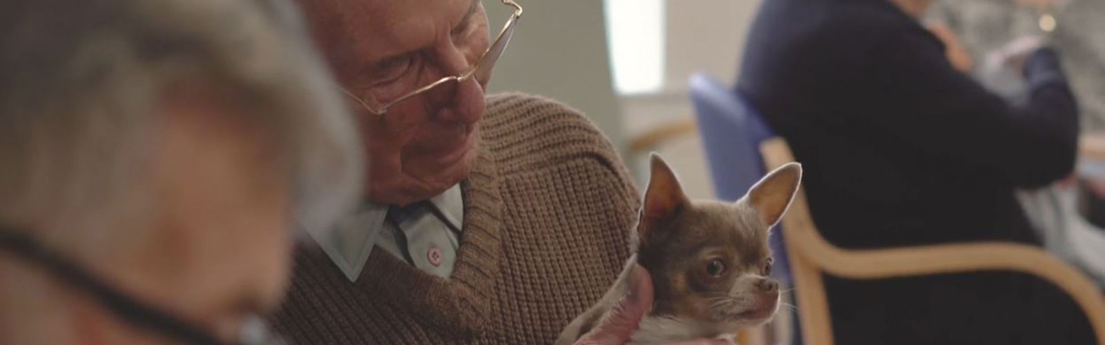 An older man with glasses holding a small dog