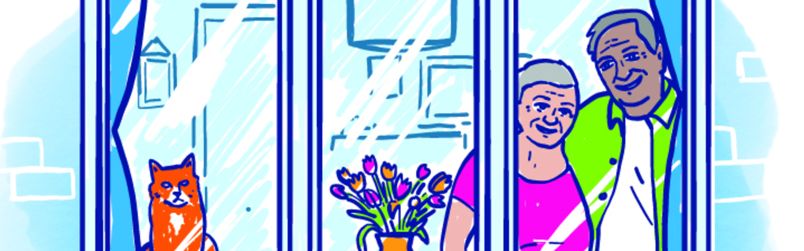 An illustration of an older couple looking through a window