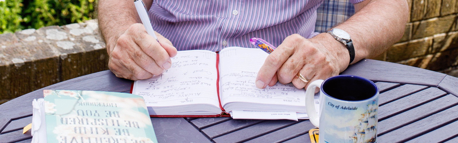 Keith Oliver writing in his diary