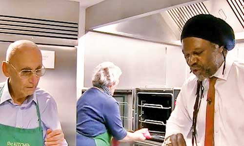 Celebrity chef Levi Roots teaching an Age UK cookery class