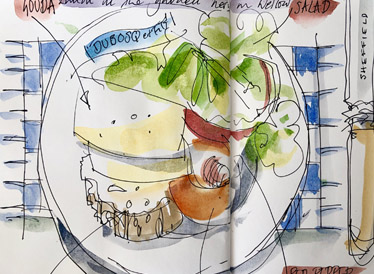 A sketch done by an older artist, showing a plate of food, including cheese and salad