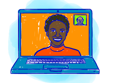 An illustration of a laptop featuring a video call between two people