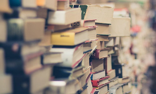 Several piles of books